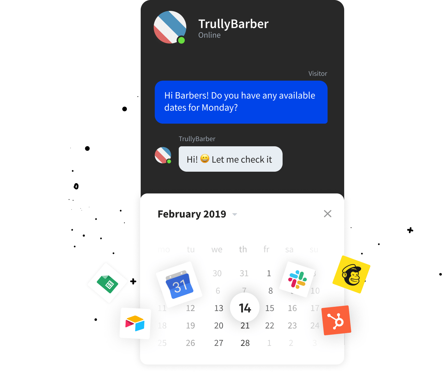 Chatbot integration with Zapier and Google Calenda